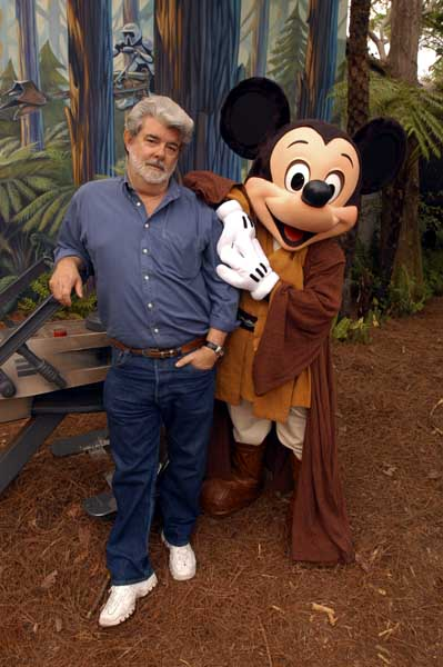 'STAR WARS' DIRECTOR GEORGE LUCAS VISITS 'JEDI MICKEY' AT DISNEY