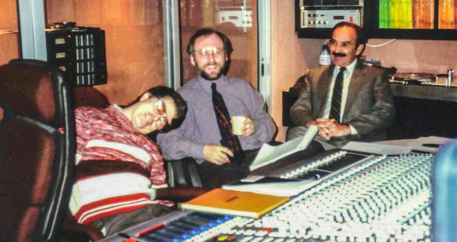 Don Lewis, Craig Fleming and Marty Sklar recording Pirates of the Caribbean at Studio Audiophase at on rue de Vaugirard, Paris.