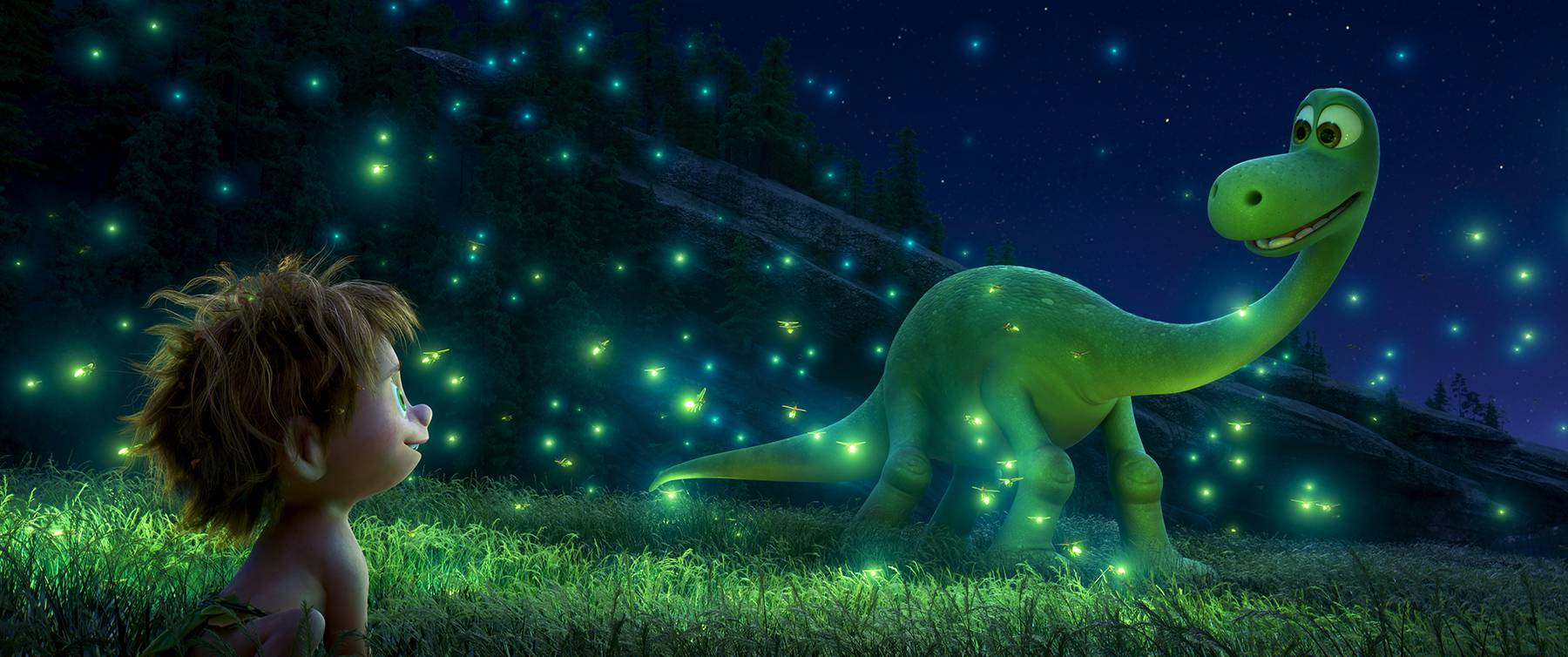 An Apatosaurus named Arlo makes an unlikely human friend in Disney-Pixar's 'The Good Dinosaur'.