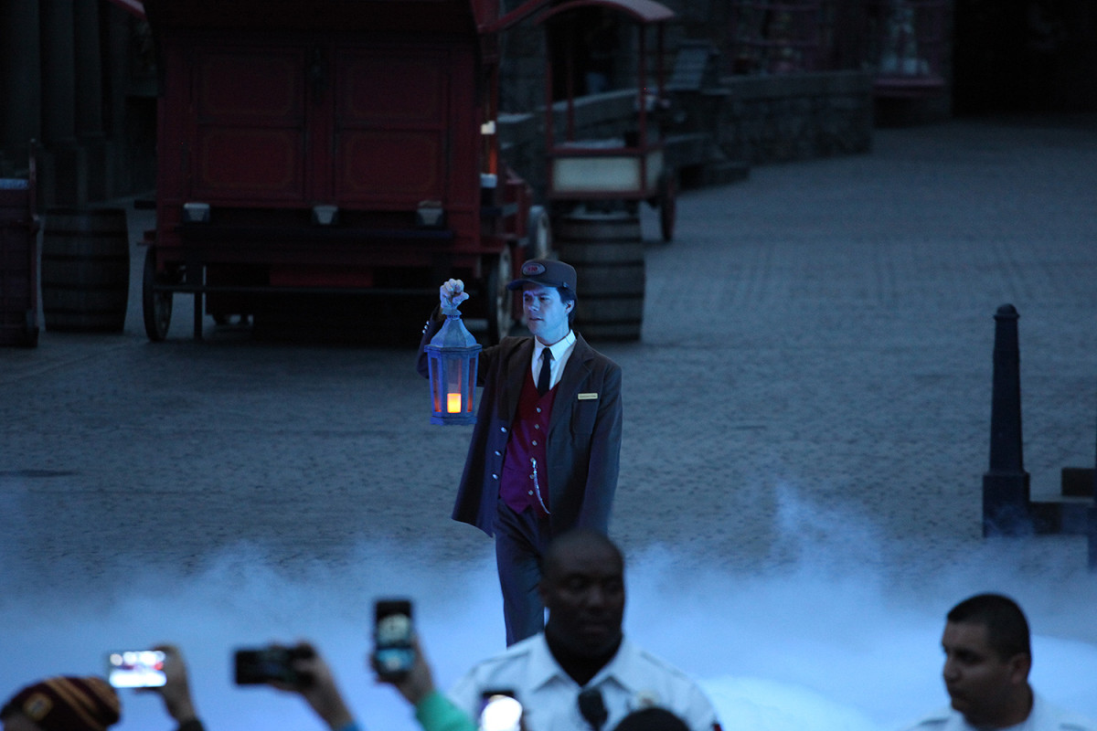 The Conductor makes an introduction at The Wizarding World of Harry Potter Grand Opening - April 7, 2016 - Photo by: David Yeh