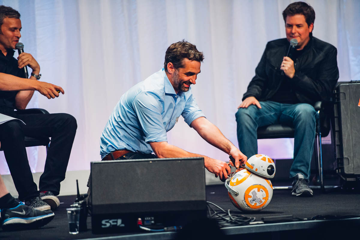 Lee Towersey shows the first BB-8 prototype.