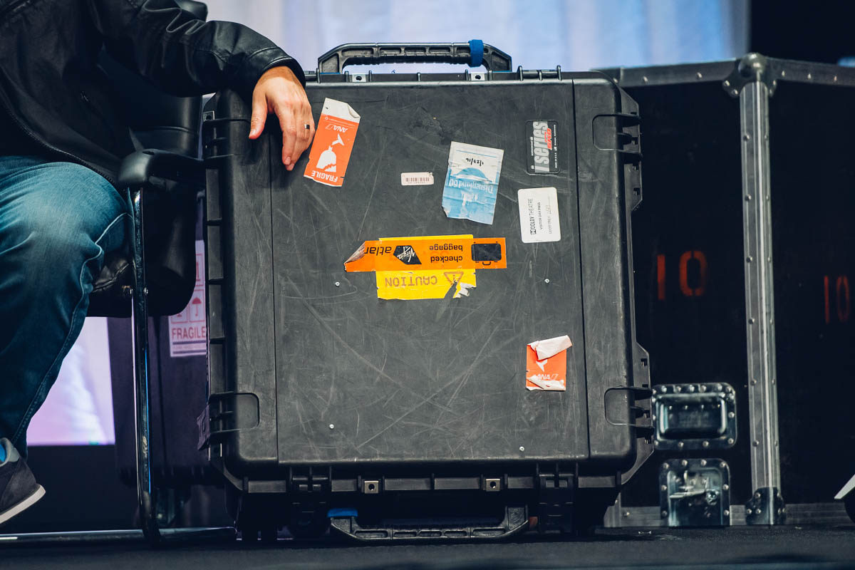 A well traveled pelicase. Note the Disneyland 60 sticker.