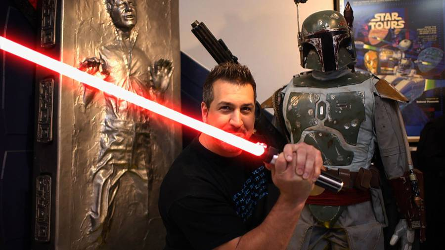 Joey Fatone with light saber