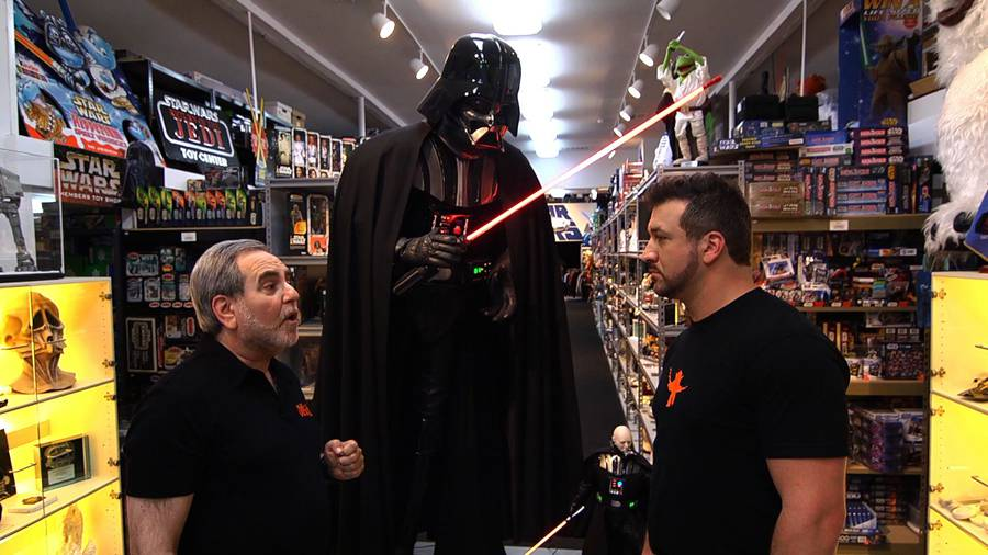 Joey and Steve in front of Darth