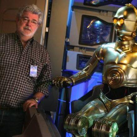 Lucas visits Star Tours at Disneyland