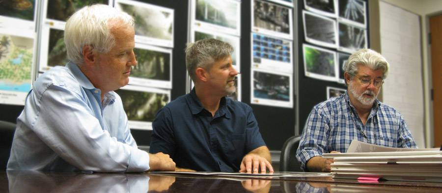 Walt Disney Imagineering Creative Executive Tom Fitzgerald, ILM VFX Supervisor Bill George, George Lucas. Photo by Greg Grusby.