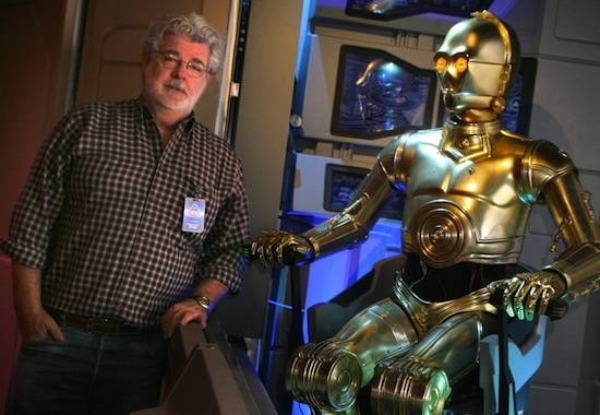 Lucas visits Star Tours at Disneyland